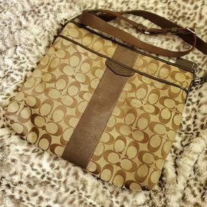 Coach tan and brown canvas crossbody